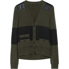 Belstaff Langham leather-paneled wool-blend cardigan ($285) ❤ liked on Polyvore featuring tops, cardigans, sweaters, outerwear, jackets, knitwear, army green, fine knit, olive green top and button top