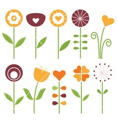 Retro cute spring flowers set isolated on white vector 1185687 - by lordalea on VectorStock®