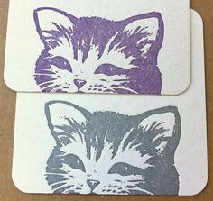 Letterpress coasters // Kitty Showdown Purple by lucky8letterpress, $8.00