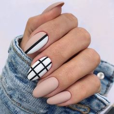 Elegant Fall Nail Art Designs You'll Love - Matte Nude Nails With Black Strip ❤ 35 Fall Nail Art Designs You'll Love ❤ See more ideas on - Classy Almond Nails, Fall Almond Nails, Natural Almond Nails, Short Almond Nails, Almond Shape Nails, Classy Nails, Stylish Nails, Short Nails, Autumn Nails