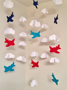 Airplane Nursery Mobile – Airplane birthday garland backdrop – Time Flies Airplane Baby Shower Decor -DIY Airplane moble – your color choice - Decoration For Home Airplane Baby Shower, Airplane Nursery, Airplane Party, Planes Party, Birthday Garland, Diy Birthday Decorations, Birthday Backdrop, Baby Shower Avion, Time Flies Birthday