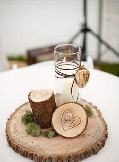 Centre de table bois et bougie blanche