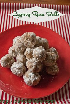 Eggnog Rum Balls by Savour Fare, gotta add these to the cookie list for next year Just Desserts, Delicious Desserts, Dessert Recipes, Yummy Food, Eggnog With Rum, Rum Balls, Christmas Cooking, Balls Recipe, Holiday Recipes
