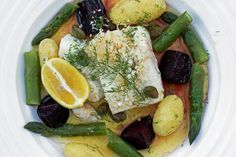 Cod is so often served with brown butter and freshly grated horseradish in Sweden that most fishmongers sell fresh horseradish. Usually the cod is gently poached in a flavoured stock, but this version is slightly easier to cook, especially for a large group. For a real treat, serve the cod with some beetroot wedges tossed in balsamic vinegar and olive oil and then roast them until they are tender, but still with a little bite.