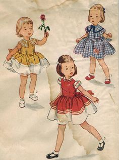 1950s Simplicity 3648 UNCUT Vintage Sewing Pattern Child's Dress Size 6