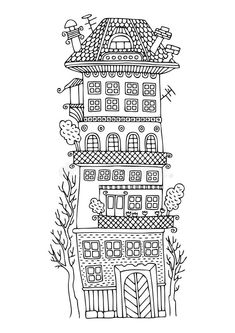 Tall Fairy House With A Terrace And Trees. Dreamtime Image: 105651177