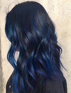 20 awesome blue black hair looks to raise charm hair color i Dark Blue Hair, Hair Color Blue, Black Hair With Blue Highlights, Blue Hair Streaks, Midnight Blue Hair, Brown Hair, Grunge Hair, Dream Hair, Gorgeous Hair