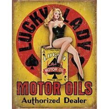 Lucky Lady Motor Oils Pin-Up Girl Tin Sign Vintage Man Cave Decor 12.5 x 16