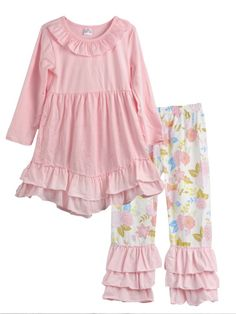 Girls Pink Ruffle Top Floral Pants Fall Boutique Outfit Set 18M 2T 3T 4T 5 6  #MyCutiePye #DressyEverydayHoliday
