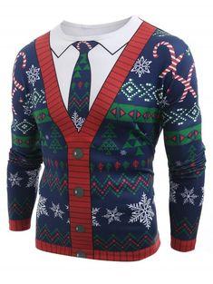 e34a329e602 T-shirt à manches longues imprimé cardigan de Noël - multicolor A XL  Camiseta