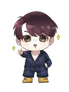 Imagem de bts and jungkook hey bts fanart cute happy kawaii chibi jhope hoseok rapmonster namjoon jimin jungkook v taehyung suga yoongi jin seokjin