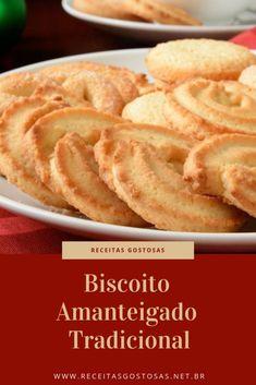 Receita de Biscoito Amanteigado Tradicional My Recipes, Sweet Recipes, Cookie Recipes, Dessert Recipes, Favorite Recipes, Desserts, Food C, Butter Cookies Recipe, Salted Butter