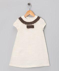Fina Ejerique Tan Ruffle Tweed Dress