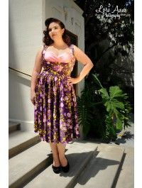 Grace Dress in Pink Floral on Purple Satin - Plus Size