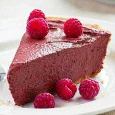 This chocolate raspberry tofu pie gets an amazing smooth, rich, creamy texture from pureed tofu. But no need to reveal that tofu is the secret ingredient--we& sure no one will guess. Tofu Recipes, Pie Recipes, Baking Recipes, Snack Recipes, Dessert Recipes, Breakfast Recipes, Drink Recipes, Sweet Recipes, Side Dishes