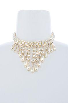 Faux Teardrop Pearl Fringe Collar Choker Necklace & Earring Set