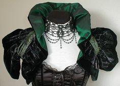 unique  shrug collar stole   steampunk vamp gothic black & green u s 10 u k 12