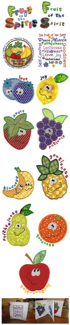 Fruit of the Spirit Machine Applique Design Machine Embroidery Applique, Free Machine Embroidery Designs, Applique Patterns, Applique Designs, Quilt Patterns, Bible School Crafts, Sunday School Crafts, Bible Crafts, Quilting Projects