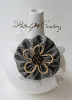 Textured Woven Fabric YoYo Flower Clip/Pin by FlutterbyCreationz