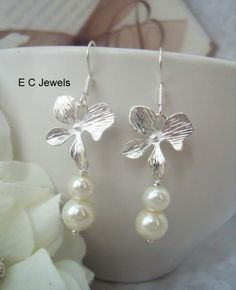 Orchid and Pearls Earrings by ElegantChicJewel on Etsy