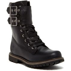 Timberland Double Strap Lace-Up Waterproof Boot ($120) ❤ liked on Polyvore featuring shoes, boots, ankle booties, ankle boots, black, black leather bootie, waterproof leather boots, black booties and faux leather booties