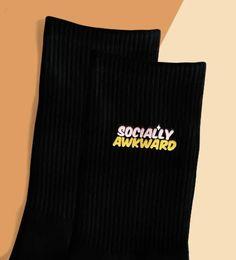 (1) 'Socially Awkward' Black Crew Sock – Pretty Feet Trinkets Bootie Socks, Sock Ankle Boots, Comfy Socks, Black Socks, Cute Boots, Designer Socks, Crew Socks, Awkward, Sweatpants