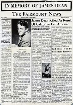 Newspapers from around the world charting the deaths of celebrity icons from James Dean to Michael Jackson Newspaper Cover, Newspaper Headlines, James Dean Death, Indiana, James Dean Photos, Last Rites, Jimmy Dean, Actor James, Celebrity Deaths
