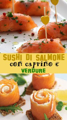 Sushi di salmone con caprino e verdure