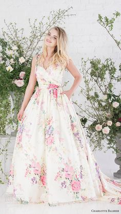 CHARLOTTE BALBIER bridal 2017 sleeveless vneck ball gown wedding dress (untamed love) mv floral print multicolor pocket train
