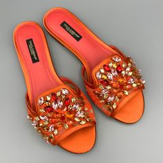 Coral Flats, Orange Sandals, Mother Of Bride Outfits, Bling Shoes, Dream Shoes, Shoe Closet, Slide Sandals, Girls Shoes, Me Too Shoes