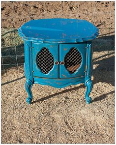 Antique teal blue vintage end table by PopOfColorDesignz on Etsy, $125.00