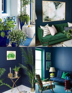 Pantone reveals the Interior Design Trends for 2019 - Maria Vilhena Living Room Green, Green Rooms, Blue Rooms, New Living Room, Blue Walls, Living Room Decor, Bedroom Decor, Gold Wallpaper Bathroom, Interior Color Schemes