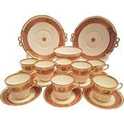 Minton Bodley England, Pink Banded Tea Set Cup & Saucer Cake Plate & Fruit Bowl