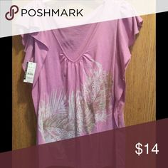 V neck flutter sleeve top V neck top with gold and white design on front New York & Company Tops Tees - Short Sleeve