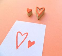 Handmade Hearts - Hand Carved Rubber Stamp Set. $8.00 USD, via Etsy.