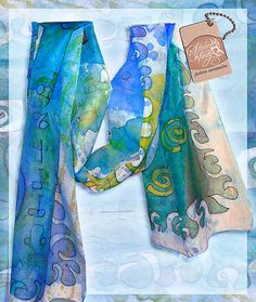 Hand painted Silk Scarf Infinity by ArtStudioInfinity on Etsy