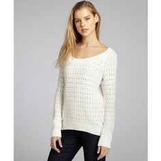 BCBGeneration Chalk Cotton-Blend Knit High-Low Sweater ($43) ❤ liked on Polyvore