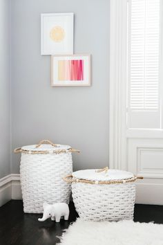 Project Nursery - serena & lily white storage baskets