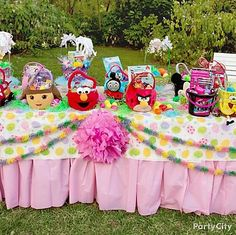 Get ready for the egg hunt with a colorful table complete with Easter baskets featuring kids' favorite characters!