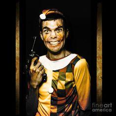 Evil Clown With Frightening Smiling Holding Gun In Horror House Doorway by Ryan Jorgensen