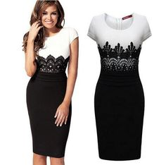 2015 New Fashion Womens Empire Vintage Crochet Lace Square neck Bodycon Fitted Shift Party Pencil Dress LS065