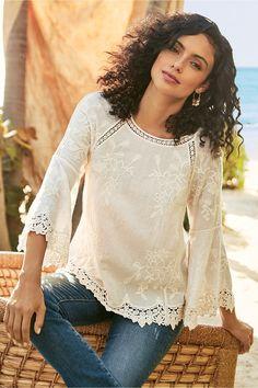 Soft Surroundings Tops - Plus-size Romantique Tunic Style Simple, Feminine Style, Women's Feminine Fashion, Sandro, Boho Chic, Casual Chic, Romantic Outfit, Romantic Clothing, Romantic Style Fashion