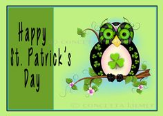 St. Patrick's Hooty Postcard Shamrock Owl Stationary by concettasdesigns, $15.00 #stationary #owl #owlart #stpatricksday #holidayowl