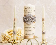 Wedding Unity Candle Set, Personalized Unity Candles for Wedding, Champagne and Bling Wedding Candles Memory Candle Wedding, Wedding Unity Candles, Pillar Candles, Bling Wedding, Wedding Headband, Wedding Champagne, Ivory Wedding, Long Burning Candles, Rhinestone Appliques