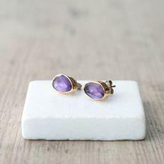 Violet Purple Amethyst Earring Studs, 22k Gold and Sterling Silver High Fashion Earrings, Purple Jewelry, Minimalist, Fine Jewelry