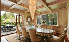 Beautiful chandelier in open dining room