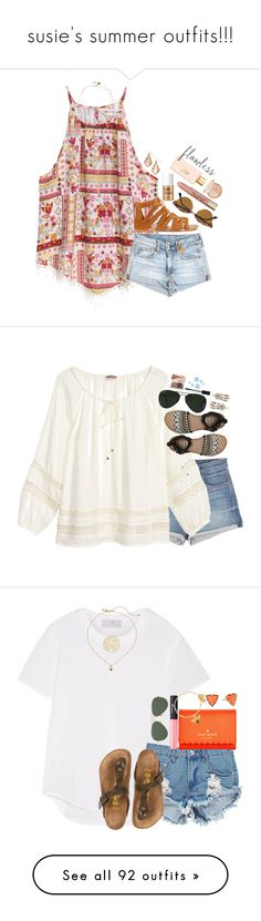 """susie's summer outfits!!!"" by sdyerrtx ❤ liked on Polyvore featuring H&M, American Eagle Outfitters, Miss Selfridge, Ray-Ban, Isabel Marant, Devon Pavlovits, Benefit, Too Faced Cosmetics, Kendra Scott and Tory Burch"