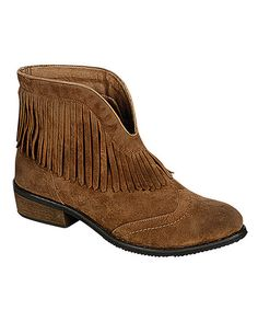 Undeniably chic, these boots will boost the style factor in any ensemble. Their ankle-height design opens up at the front to visually elongate legs, while a fringe detail plays up their western-inspired charm. 1'' heel6'' shaft13'' circumferencePull-on