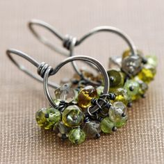 Green Gemstone Cluster Earrings August Birthstone by aubepine, $58.00