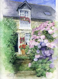 ✿Flowers at the window & door✿ Anne Marie Patry-Belluteau Watercolor Artists, Watercolor Landscape, Watercolor Flowers, Watercolor Paintings, Watercolors, Painted Cottage, Cottage Art, Art Themes, Art World